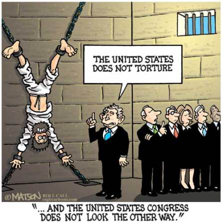 policy on torture US political cartoon george W. Bush